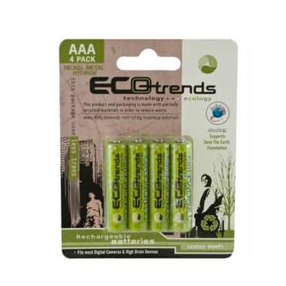 Ecotrends Rechargeable AAA Batteries (Pack of 4)