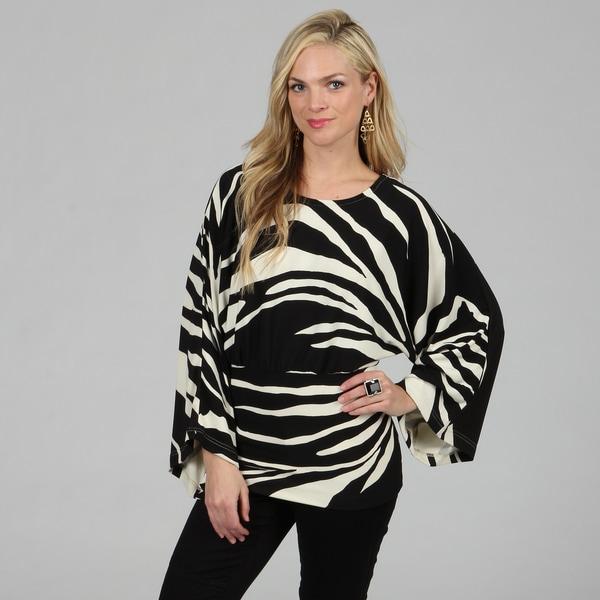 Kozy Women's Zebra Print Kimono Sleeve Top