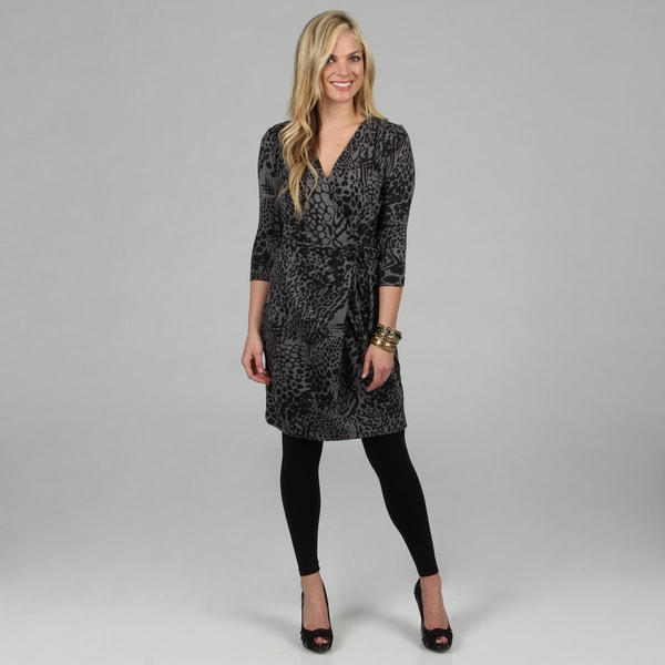 Kozy Women's Grey Tiger Print Long Sleeve Wrap Dress