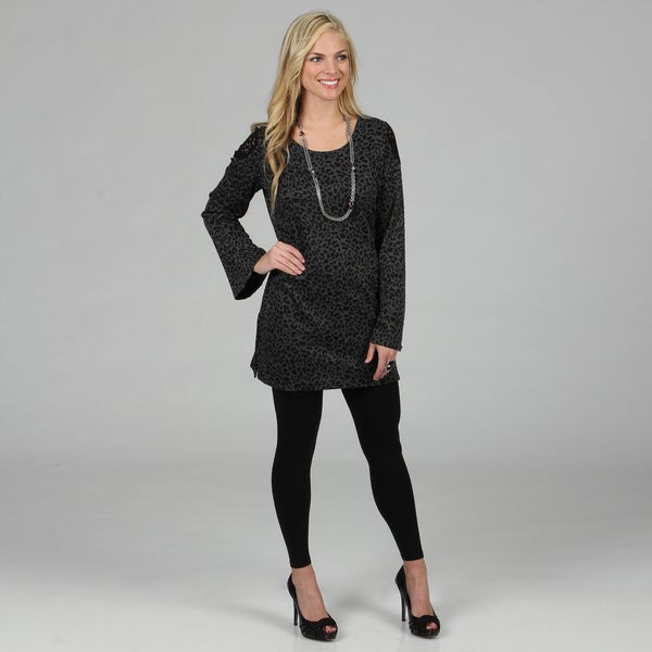 Kozy Women's Grey Leopard Print Lace Accent Tunic Dress