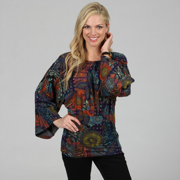 Kozy Women's Blue Abstract Print Kimono Sleeve Top