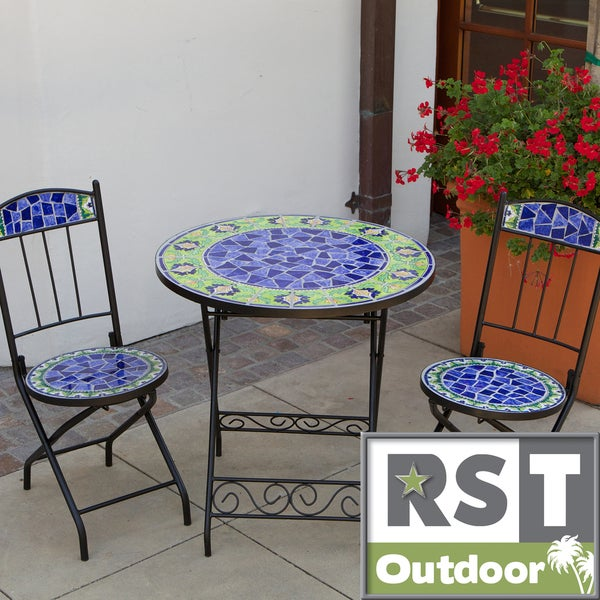 RST Outdoor Ceramic Tile Bistro 3-piece Set
