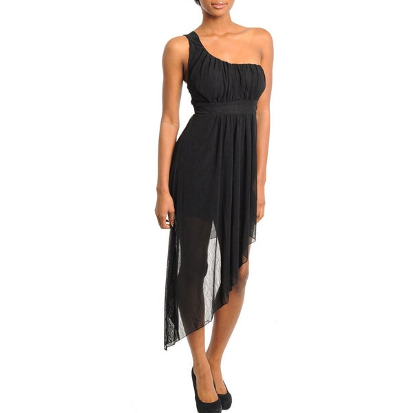 Stanzino Women's Black One Shoulder Asymmetric-hem Dress