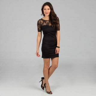 Stanzino Women's Lace and Sequin Little Black Dress