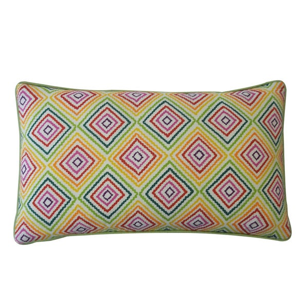 Jiti 'Square' Green 12-inch x 20-inch Pillow