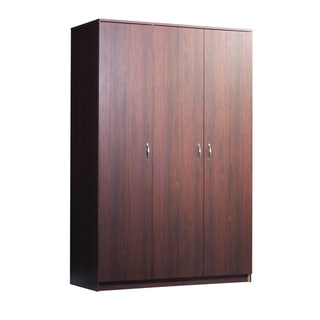 akadaHOME Wide Walnut Finish Wardrobe Cabinet