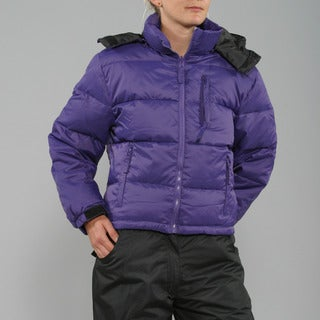 Sportscaster Women's Purple Hooded Down Jacket