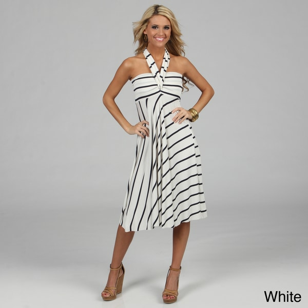 Elan Women's Striped Convertible 8-way Cover-up Dress
