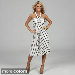 Elan Women's Striped Convertible 8-way Cover-up Dress