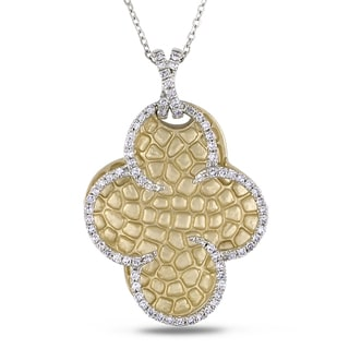 Miadora 14k Two-tone Gold 3/8ct TDW Diamond Clover Necklace (G-H, I1-I2)