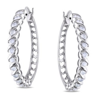 New! Miadora 14k White Gold 1ct TDW Diamond Hoop Earrings (I-J, I2-I3)