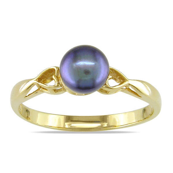 Miadora 14k Yellow Gold Black Cultured Freshwater Pearl Cocktail Ring (5-5.5 mm)