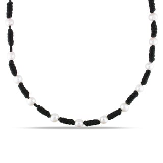 M by Miadora Pearl and Black Chinese String Necklace (7.5-8 mm)