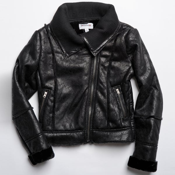 CoffeeShop Kids Girls Black Faux Shearling Jacket