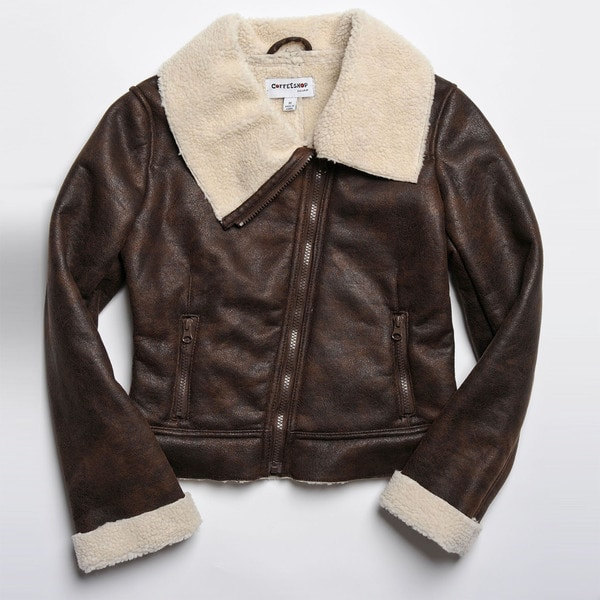 CoffeeShop Kids Girls Brown Faux Shearling Jacket