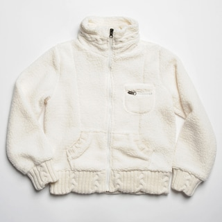 CoffeeShop Kids Girl's Ivory Sherpa Fleece Zip-up Jacket