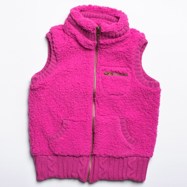 CoffeeShop Kids Girls Fuchsia Sherpa Vest