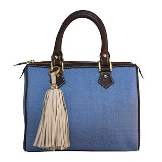 Claudia G. Women's Blue 'Alessa' Canvas and Leather Petite Handbag
