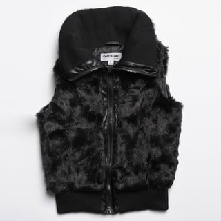 CoffeeShop Kids Girls Black Faux Fur Vest