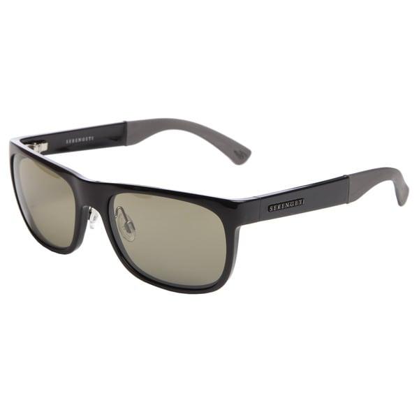 Serengeti Men's 'Nico' Shiny Black Rectangular Sunglasses