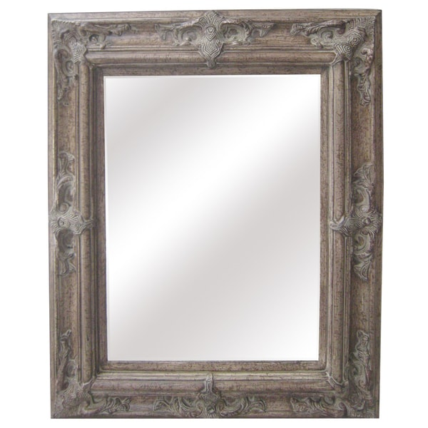 Antique Wood Traditional Rectangular 30-inch Wall Mirror