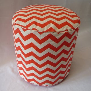 Canvas Chevron Print Orange and White Ottoman