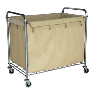 Offex Heavy-Duty Steel Frame Canvas Rolling Laundry Utility Storage Cart