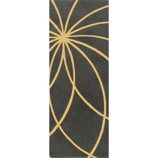 Hand-tufted Escort Iron Ore Floral Wool Rug (2'6 x 8')