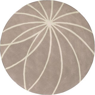 Hand-tufted Expo Safari Tan Floral Wool Rug (6' Round)
