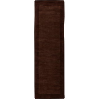 Hand-crafted Solid Brown Tone-On-Tone Bordered Caprice Wool Rug (2'6 x 8')