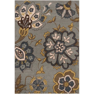 Meticulously woven Firebird Slate Grey Floral Rug (6'7 x 9'6)