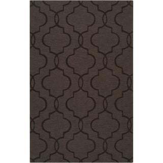Hand-crafted Dark Brown Geometric Lattice Catera Wool Rug (5' x 8')
