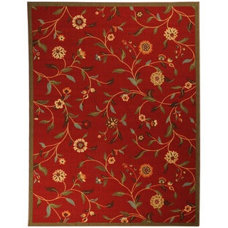 Printed Ottohome Floral Burgundy Runner Rug (5' x 6'6)