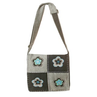 Grey Flower Patch Bag (Nepal)