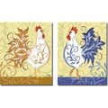 Rebecca Lyon 'Gallo d'Oro and Gallo Blu' 2-piece Canvas Art Set