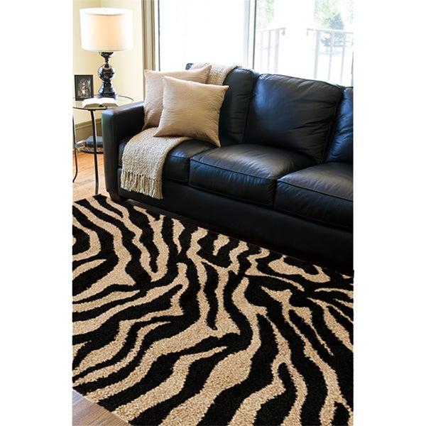 Meticulously Woven Black/Beige Zebra Aquila Animal Print Rug (5'3 x 7'3)