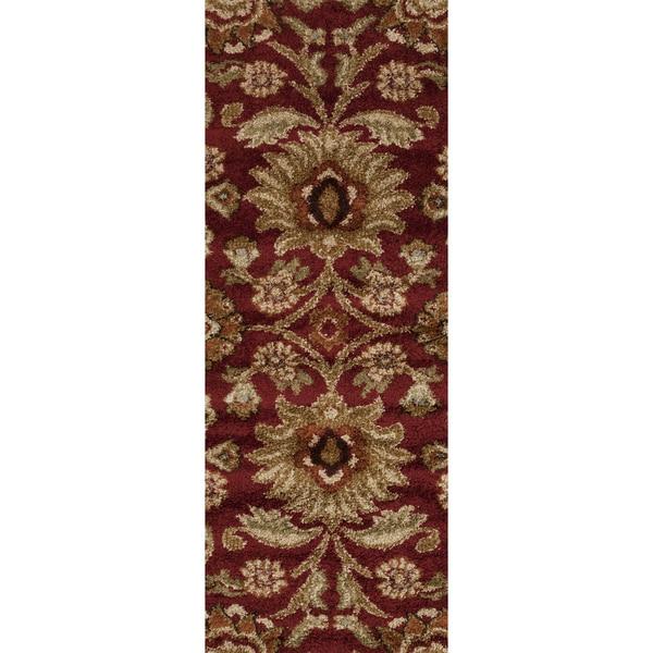Varese Burgundy Runner Floral Plush Shag Rug (2'7 X 7'3