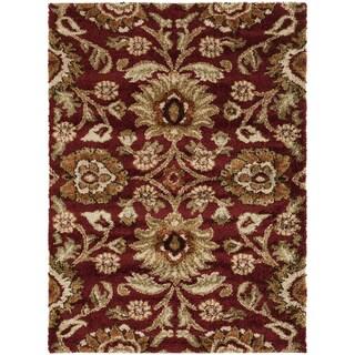Varese Burgundy Floral Plush Shag Rug (5'3 x 7'3)