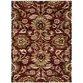 Varese Burgundy Floral Plush Shag Rug (5&#39;3 x 7&#39;3)
