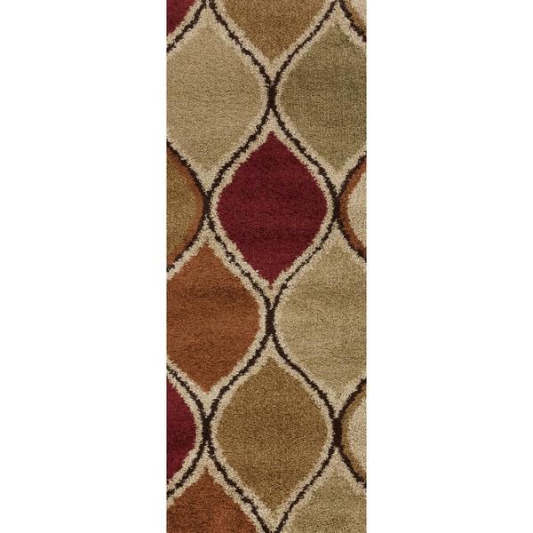 Caserta Safari Tan Runner Geometric Shag Rug (2'7 x 7'3)