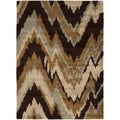 Cinisello Brown Chevron Shag Rug (2' x 3')