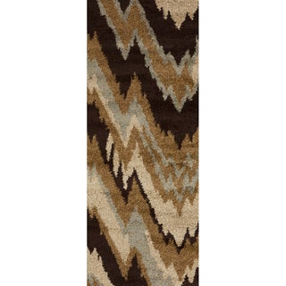 Cinisello Tan Chevron Shag Runner Rug (2'7 x 7'3)