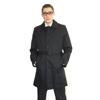 Ferrecci Men's Black Belted Trench Coat