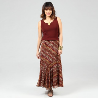 Lola P Women's Brown Georgette Printed Long Skirt