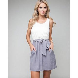Stanzino Women's Two-tone Waist-tie Casual Dress