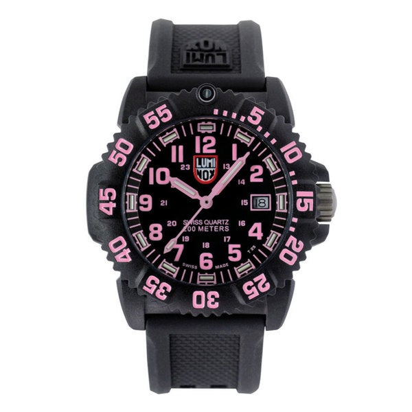 Luminox Women's A.7065 'Colormark' Black/Pink Dial Black Rubber Strap Quartz Watch