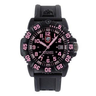 Luminox Women's A.7065 'Colormark' Black/Pink Dial Black Rubber Strap Quartz Watch