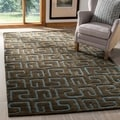 Handmade Puzzles Brown/ Blue New Zealand Wool Rug (9&#39;6 x 13&#39;6)