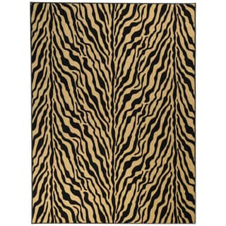 Printed Ottohome Zebra Black and Tan Runner Rug (5' x 6'6)