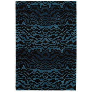 Handmade Tribal Blue New Zealand Wool Rug (9'6 x 13'6)